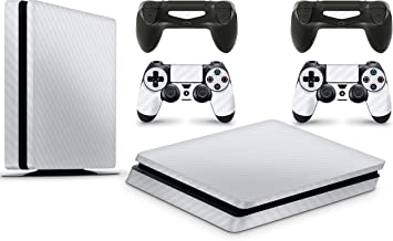 giZmoZ n gadgetZ PS4 Slim Console Carbon White Colour Skin Decal Vinal Sticker + 2 Controller Skins Set
