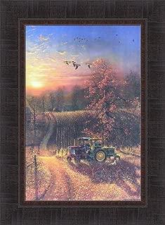 Home Cabin Décor Harvest Break by Dave Barnhouse 17x23 John Deere International Tractors Autumn Fall Fields Crops Farming Farm Framed Art Print Picture
