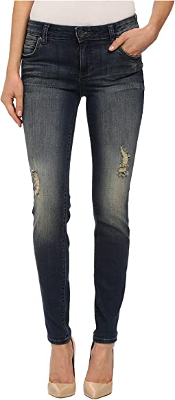 KUT from the Kloth - Mia Toothpick Five-Pocket Skinny Jeans in Laugh/Dark Stone Base Wash