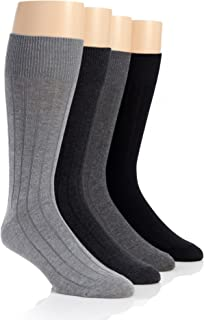 Men's 4-Pack Solid Ribbed Dress Crew Socks