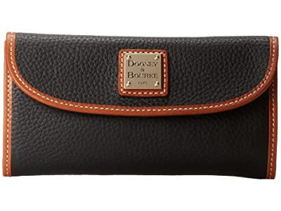 Dooney & Bourke Pebble Leather New SLGS Continental Clutch (Black w/ Tan Trim) Clutch Handbags
