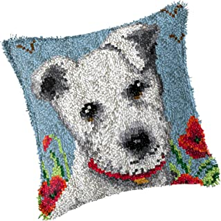 DIY Latch Hook Kit Rug Making Crafts for Kids Adults Beginner Dog Square Pillow Covers Cushion with Printed Canvas Crochet...