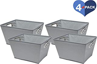 Delta Children 4 Piece Rectangle Storage Bins, Dove Grey