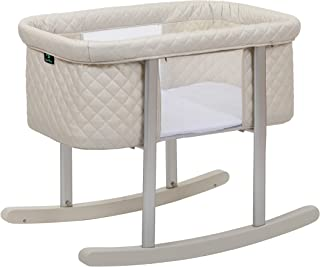 Baby Bassinet Cradle Includes Gentle Rocking Feature, Great for Newborns and Infants Safe Mattress Includes Wheels for Eas...