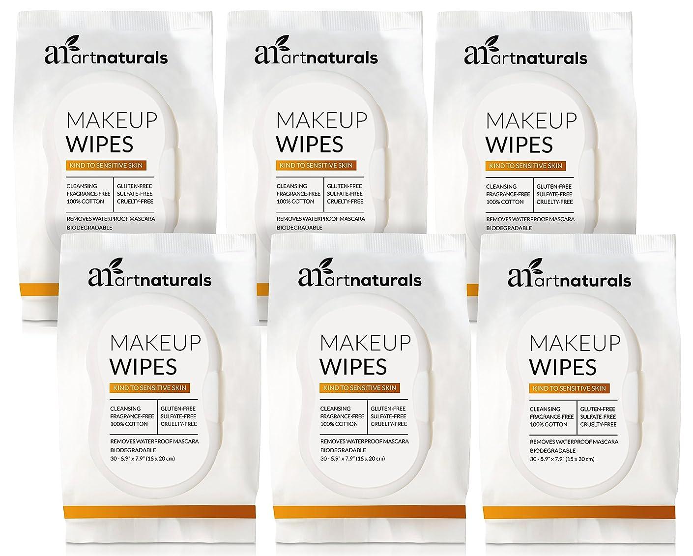 ママ明るい印象的なArtNaturals Makeup Remover Cleansing Wipes-Towelettes – (30 Count x 6 Piece Set) – Biodegradable Facial Wipes Remove All Makeup Including Waterproof Mascara – for Sensitive Face and Skin