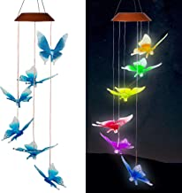 xxschy Solar Butterfly LED Wind Chimes Outdoor - Waterproof Solar Powered LED Changing Light Color 6 Butterflies Mobile Romantic Wind-Bell for Home, Party, Festival Decor, Night Garden Decoration