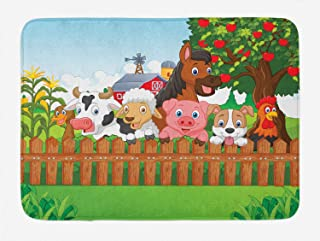 Ambesonne Cartoon Bath Mat, Composition Farm Animals on Fence Comic Mascots with Dog Cow Horse Kids Design, Plush Bathroom Decor Mat with Non Slip Backing, 29.5
