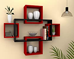 Vudy Exclusively Designed Wall Shelf with 5 intersecting Decorative Living Room Shelves (Black & Red)