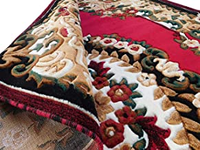 Kismat Carpet Traditional Persian Carpet for Living Room Bedroom Floor and Hall 1.00 inch Thickness 6 Feet x 8 Feet (180x240 cm) Color Red by Kismat Carpet