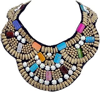 Women's Multicolored Beaded Tribal Halloween Costume Ethnic Bib Jewelry Collar Necklace