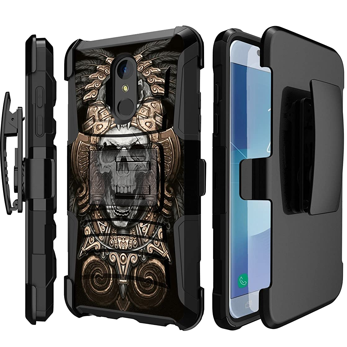 MINITURTLE Case for Girls Compatible with LG Stylo 4 / LG Q Stylus (2018 Release)(Cricket) Hard Rugged Shell, Silicone Bumper with Kickstand & Holster by MINITURTLE - Tribal Aztec Skull