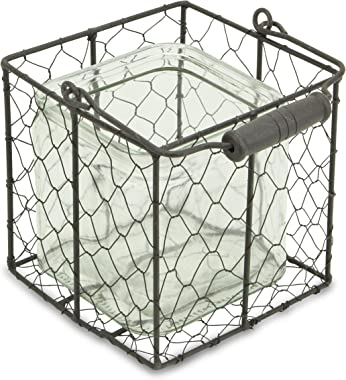 Cheung's 15S002BRL Square Glass Jar in Brown Wire Basket