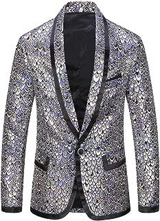 CARFFIV Male Shawl Lapel Jacquard Squama Pattern Slim Fit Blazer Suit Jacket