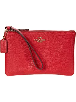 코치 리스틀릿 스몰 COACH Box Program Small Wristlet,GD/Electric Red