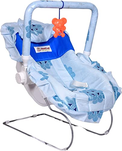 Goyal's 10 in 1 Baby Carry Cot/Bouncer with Mosquito Net and Swinging - 100% Pure Cotton Fabric Beautiful Flower Desi...