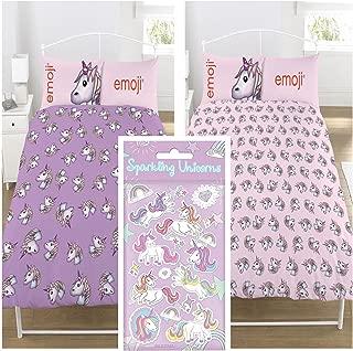 Emoji Unicorn UK Double/US Full Duvet Cover Set + FREE Small Foil Unicorn Stickers