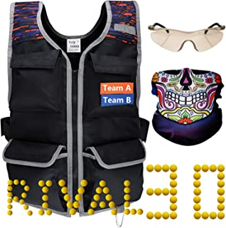 Hely Cancy Tactical Vest Kit Compatible with Nerf Guns Rival Series with 30 Ammo Refill Darts, Tactical Mask, Protective Glasses for Men and Big Boys