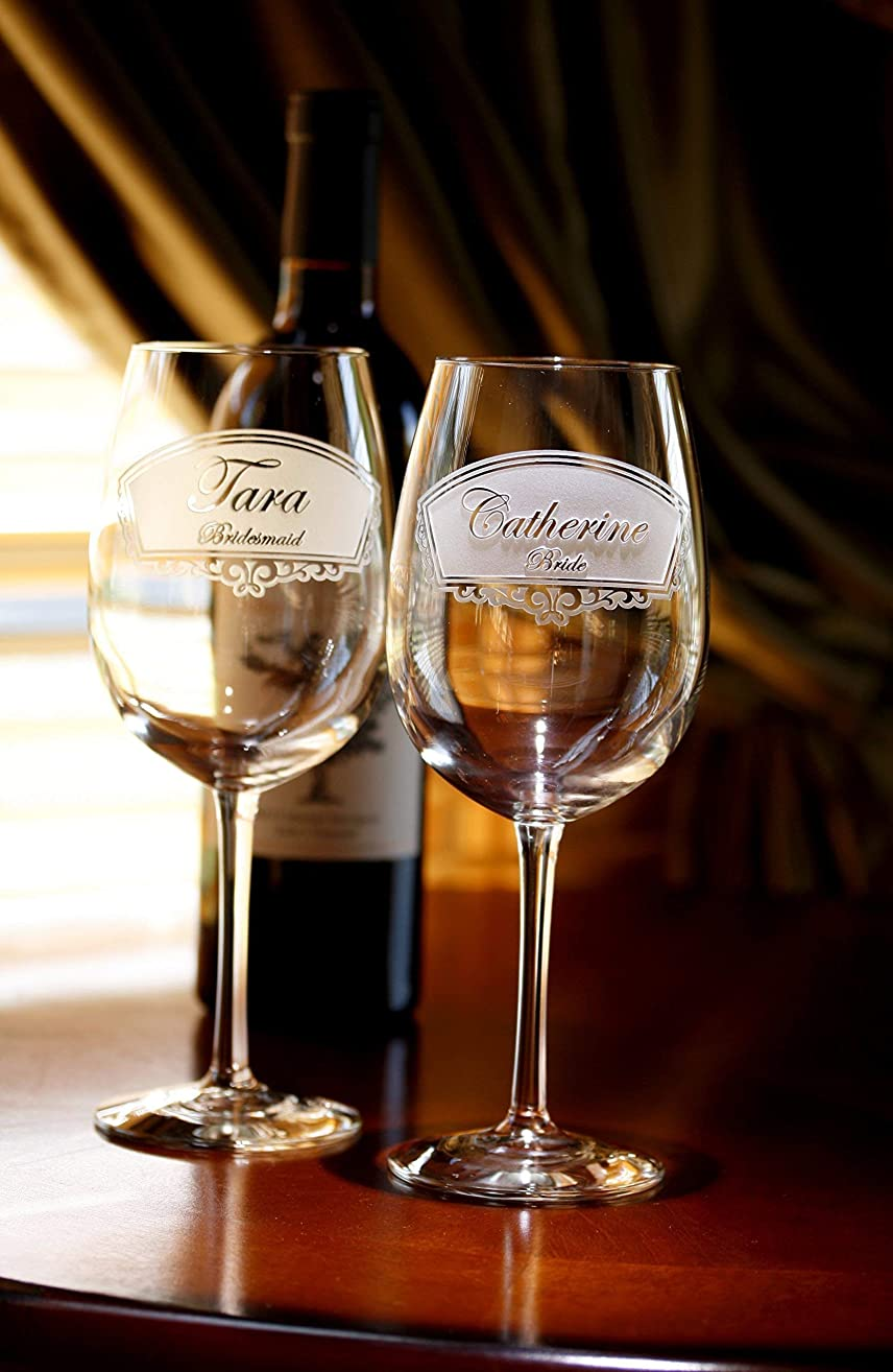Engraved Bridesmaid, Bridal Party Wine Glass Gift Ideas, Set of 5