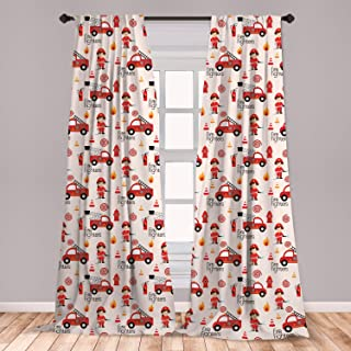 Lunarable Fire Truck Curtains, Little Boys and Girls in Uniforms Fire Fighters Theme Career Profession Pattern, Window Treatments 2 Panel Set for Living Room Bedroom Decor, 56