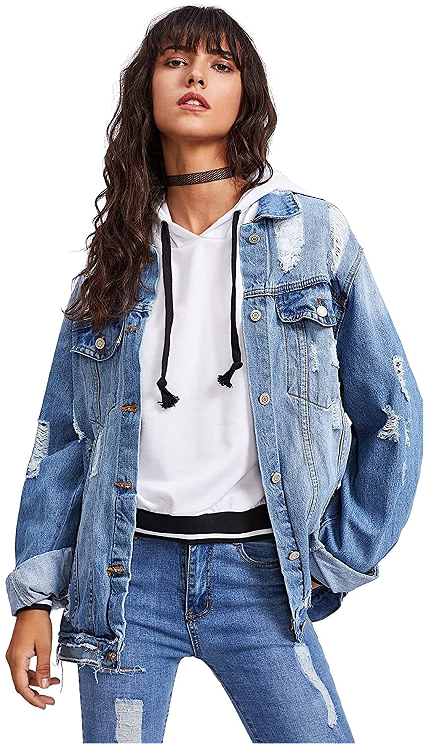 Floerns Women's Ripped Distressed Casual Long Sleeve Denim Jacket
