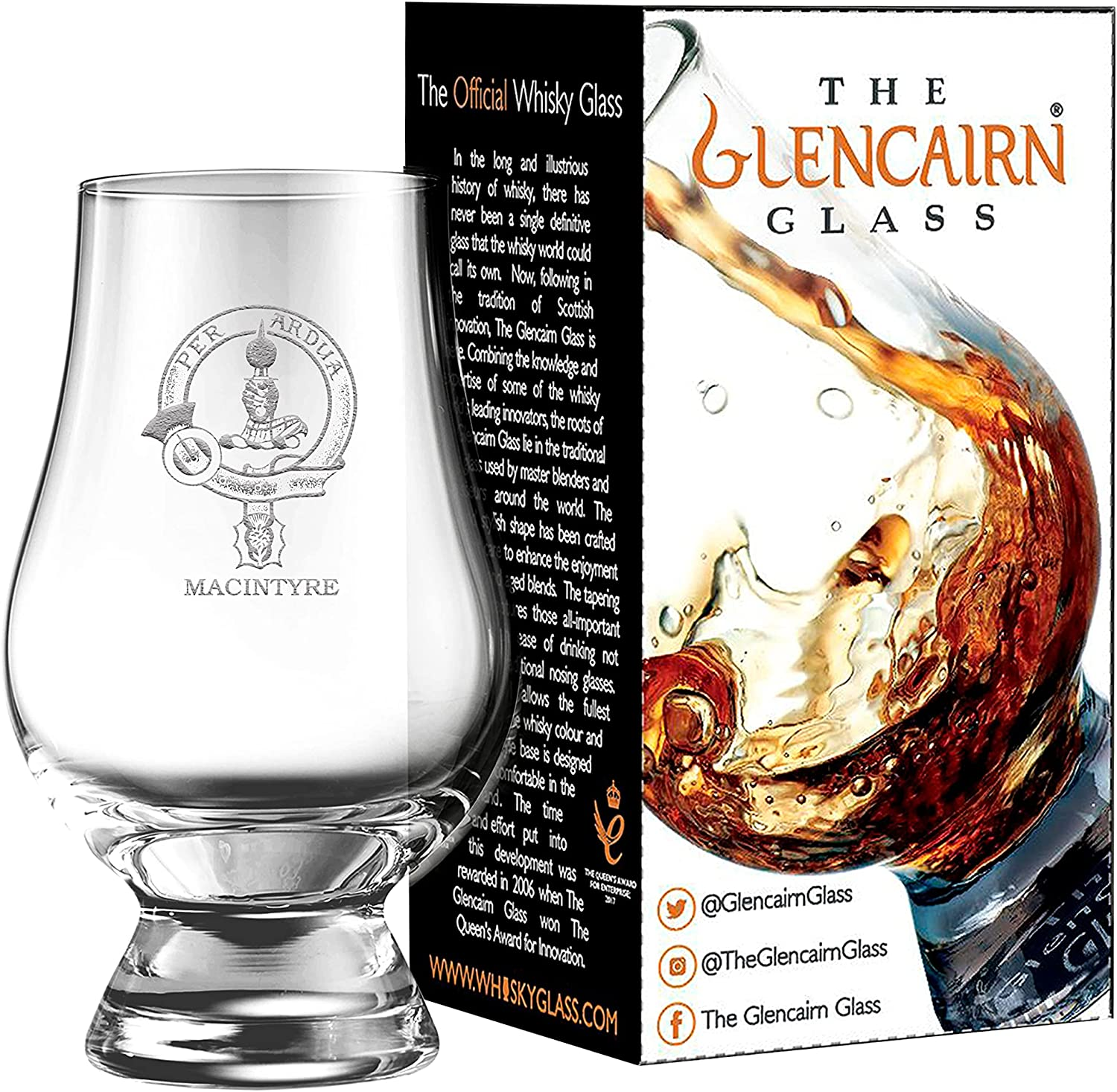 Clan Crest MacIntyre Engraved Glencairn in Glass Gift Car Max 77% OFF Outlet sale feature Whisky