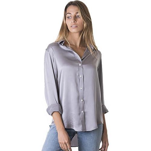 df52a763d8c0c CAMIXA Womens 100% Silk Blouse Long Sleeve Lady Shirts Satin Button Up  Charmeuse