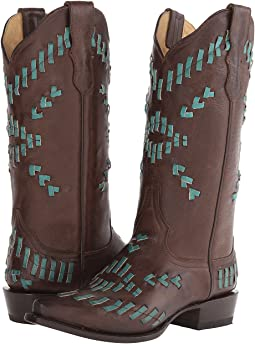 Turquoise Leather Lace Weave
