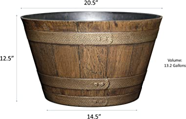 """Classic Home and Garden S1027D-265R Whiskey Barrel, 20.5"""", Distressed Oak"""