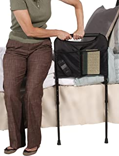 Able Life Bedside Sturdy Bed Rail - Elderly Home Assist Handle + Adult Bed Safety Rail & Adjustable Legs Floor Support & Pouch