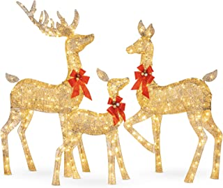 Best Choice Products 3-Piece Lighted Christmas Deer Family Set Outdoor Yard Decoration with 360 LED Lights, Stakes, Zip Ti...
