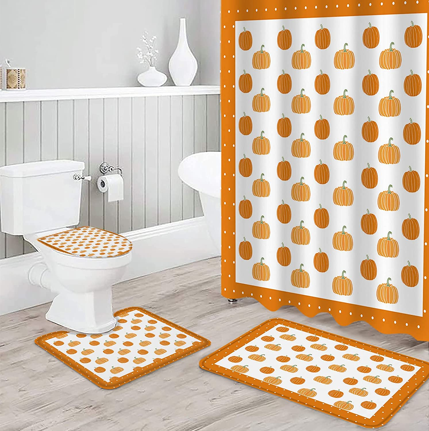 Holiday Shower Curtain Set 4 Piece Non-Slip Ru Bathroom Max 84% OFF with for Raleigh Mall
