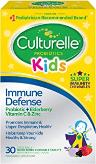 Culturelle Kids Immune Defense, Probiotic + Elderberry, Vitamin C and Zinc, Immune Support for Kids, Mixed Berry Chewables...