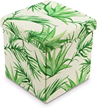 Ikee Design Tropical Leaves Pattern Folding Storage Ottoman - Areca Palm Polyester Collapsible Cube Foot Rest Stool Coffee Table