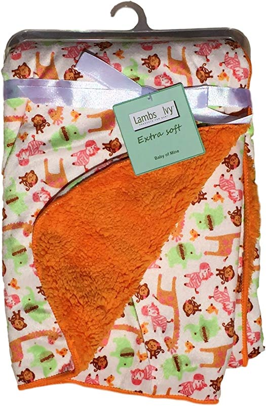 Lambs And Ivy Baby Blankets Unisex Warm And Cozy Extra Soft Micro Plush Fleece Blanket Anti Pilling Sherpa Backing Multiple Designs And Themes Jungle