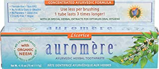Auromere Licorice Ayurvedic Herbal Toothpaste With 24 Special Herbal Extracts for Optimum Care of Teeth and Gums, 4.16 oz (75 ml/117 g) (Pack of 2)