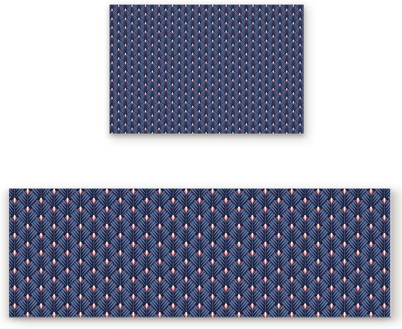 2 Piece Non-Slip Kitchen Bathroom Entrance Mat Absorbent Durable Floor Doormat Runner Rug Set - Leaf Geometric Pattern