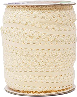 Mandala Crafts Elastic Lace Trim, Stretch Ribbon for Headbands, Lingerie, Garters, Thongs, DIY Crafting and Sewing (1 Inch, 55 Yards, Cream)