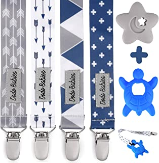 Pacifier Clip by Dodo Babies Pack of 4 + 2 Teether Toys, Premium Quality Modern Designs Universal Holder Leash for Boys and girls, Teething Toy or Soothie, Baby Shower Gift Se