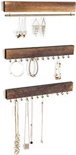 Sponsored Ad - MyGift 3-Piece Wall-Mounted Rustic Wood & Gold Tone Metal Jewelry Organizers / 24 Hook Necklace & Bracelet ...