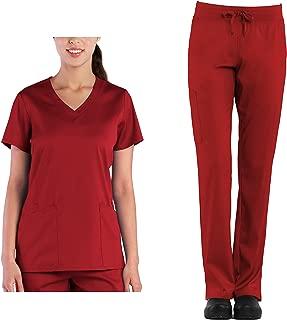 Tru Scrubs Soft Ladies Curved V-Neck Top & Yoga Style Cargo Pant Scrub Set