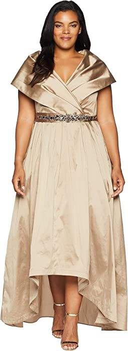 Plus Size Silky Taffeta High-Low Shawl Gown