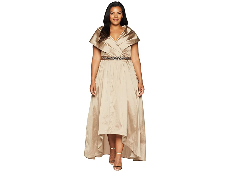 Adrianna Papell Plus Size Silky Taffeta High-Low Shawl Gown (Antique Bronze) Women