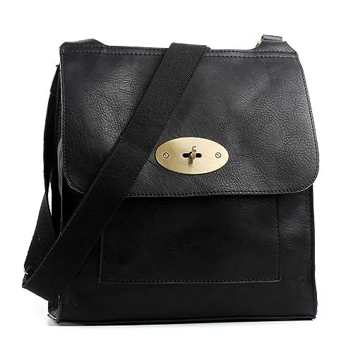 Aossta Faux Leather Large Medium Twist Lock Cross Body Messenger Bag  Turnlock Shoulder Bag b00fff1e617e8