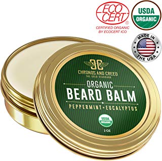 Beard Balm - 100% Organic Ingredients | Nourishing Beard Conditioner, Moisturizer and Softener | Peppermint+Eucalyptus Men's Grooming and Styling Product | Control Dandruff, Dry Skin, Greasy Hair