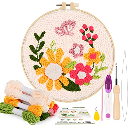 Pllieay Punch Needle Embroidery Starter Kits for Kids and Adults Beginners, Include Instructions, Punch Needle Fabric with Floral Pattern, Yarns, Embroidery Hoops and Threader Tools