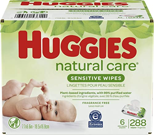 Baby Wipes, Huggies Natural Care Sensitive Baby Diaper Wipes, Unscented, Hypoallergenic, 6 Flip-Top Packs (288 Wipes ...