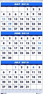 House of Doolittle Three-Month Compact Academic Calendar 12 Months June 2014 to July 2015, 8 x 17 Inches, Large Numbered Days, Recycled (HOD3645)