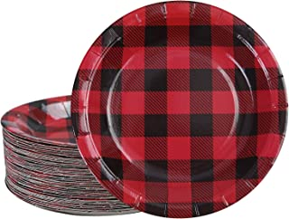 Aneco 60 Pieces Red and Black Plaid Paper Plates Disposable Plates Round Plates Party Supplies for Party, 7 Inches