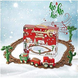 Jul expresståg leksaksset, Hunpta järnvägsspår batteridriven jul musiktåg med ljus och ljud, pedagogiska leksaker julklapp...