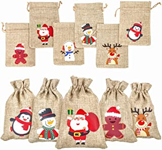 DERAYEE 36Pcs Christmas Jute Burlap Gift Bags with Drawstring, Small Craft Canvas Goodie Bags for Xmas Party Wedding Suppl...